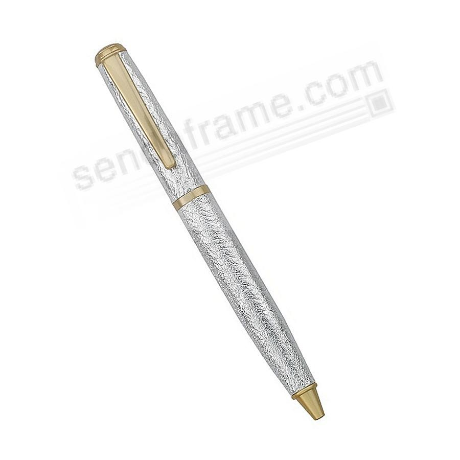 Full Wrap Fine Leather PEN in SILVER METALLIC Goatskin by Graphic Image™