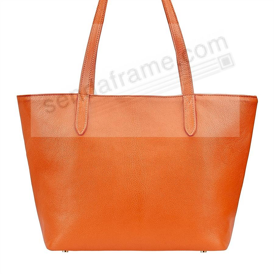 The CASSIE TOTE crafted in Orange Soft Leather by Graphic Image™