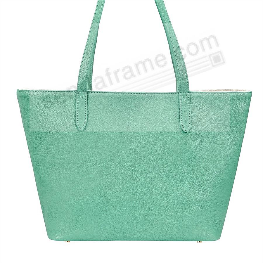 The Original CASSIE TOTE crafted in Robins-Egg-Blue Soft Leather by Graphic Image™