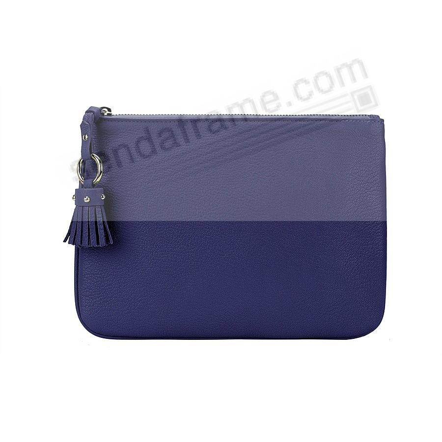 The RILEY CLUTCH BAG crafted in Indigo-Blue Soft Leather by Graphic Image™