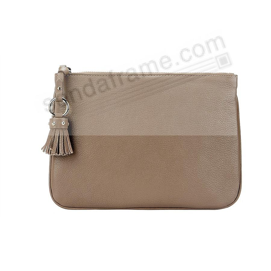 The RILEY CLUTCH BAG crafted in Taupe Soft Leather by Graphic Image™