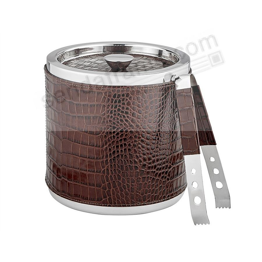 ICE BUCKET + TONGS Brown Croco-Leather by Graphic Image®