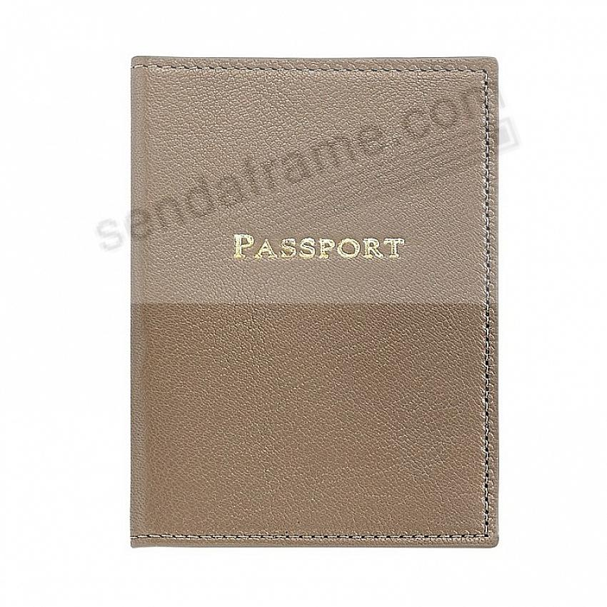 PASSPORT/ID HOLDER in TAUPE Leather by Graphic Image®