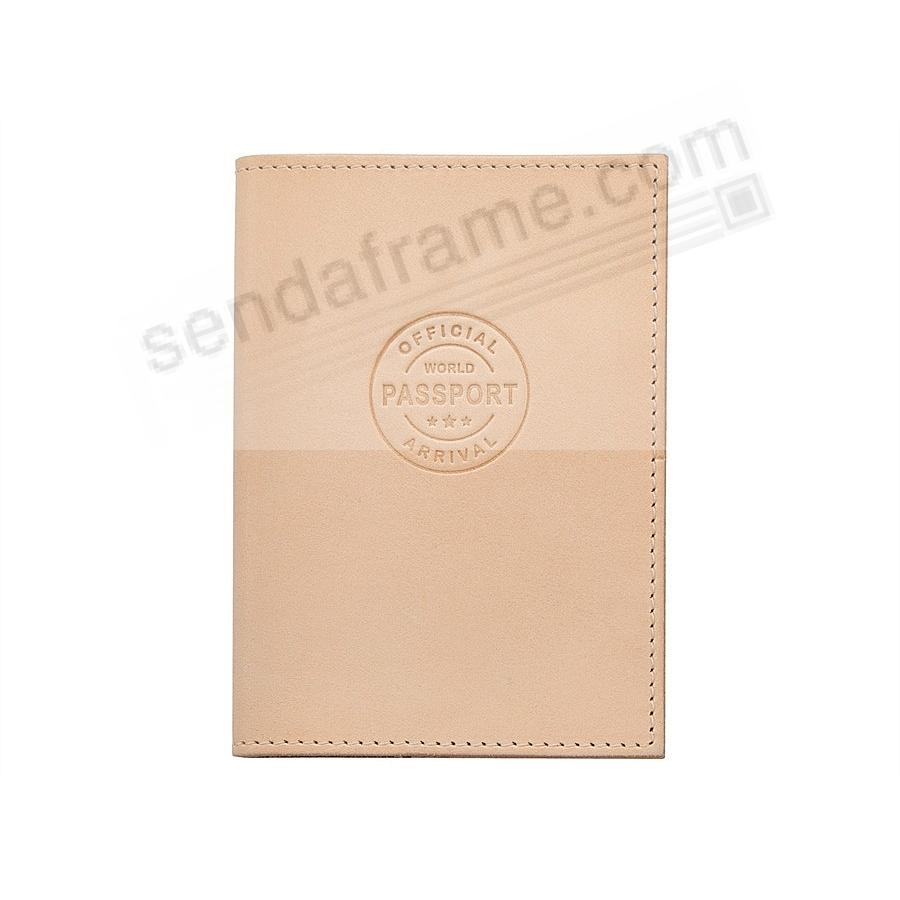 PASSPORT/ID HOLDER in NATURAL VANCHETTA Leather by Graphic Image®