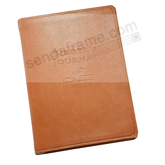 Pocket-size BIRDERS JOURNAL British Tan leather by Graphic Image™