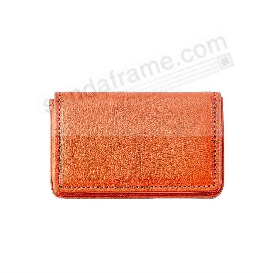 MAGNETIC CARD CASE (HARD) in ORANGE Leather by Graphic Image®