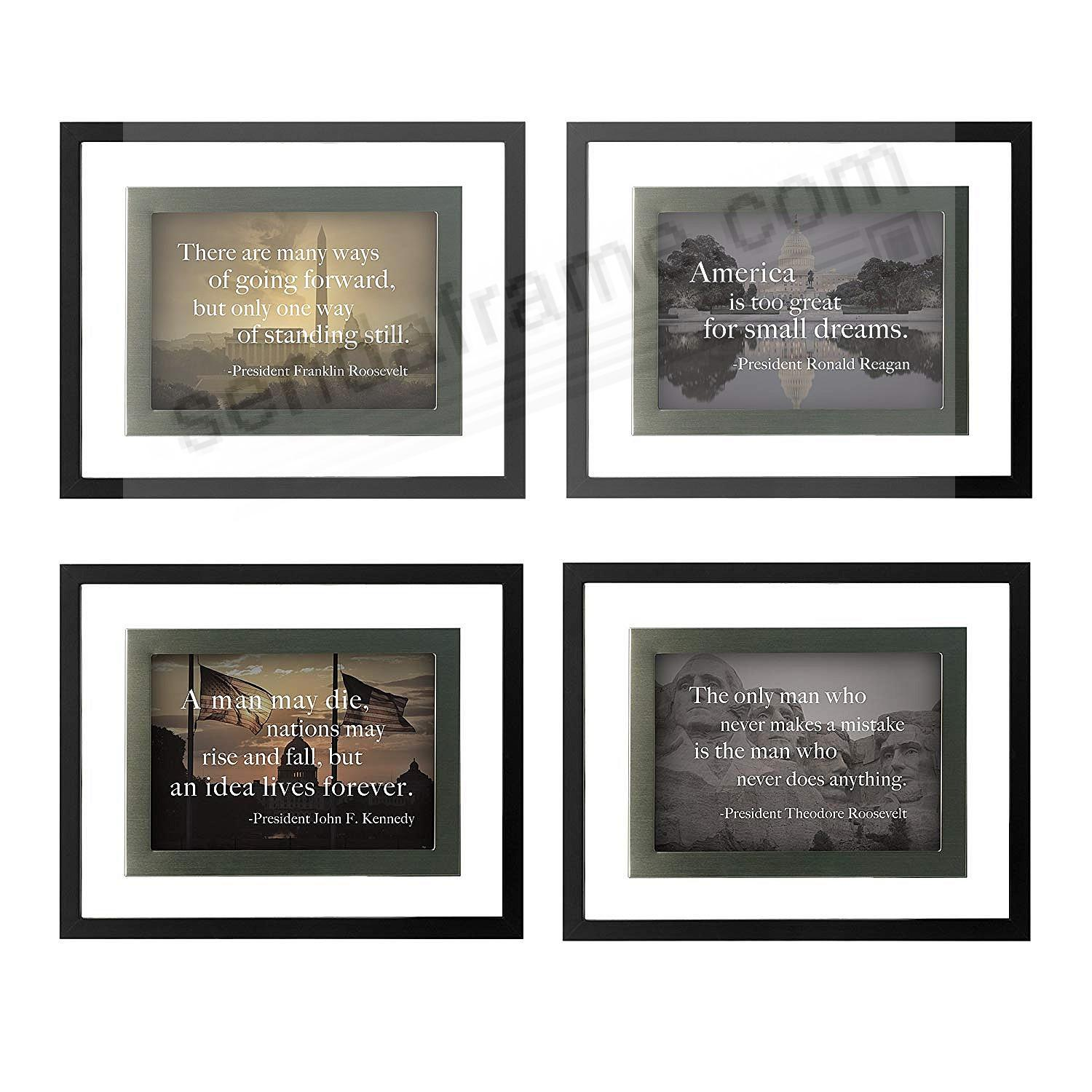 (SET OF 4) FAMOUS QUOTES BLACK/SILVER Float Frame 5x7 by DAX®