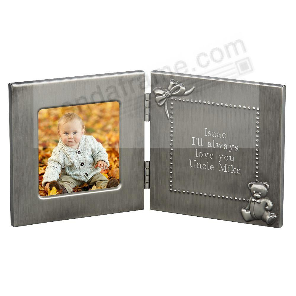 A special pewter hinged baby frame with engraveable plate