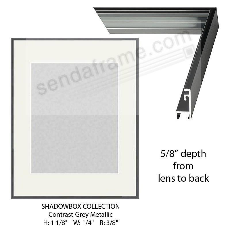 Custom-Cut™ SHADOW Box 5/8-in Depth - 22x28 Grey Metal H:1-1/8 W:1/4 R:3/8