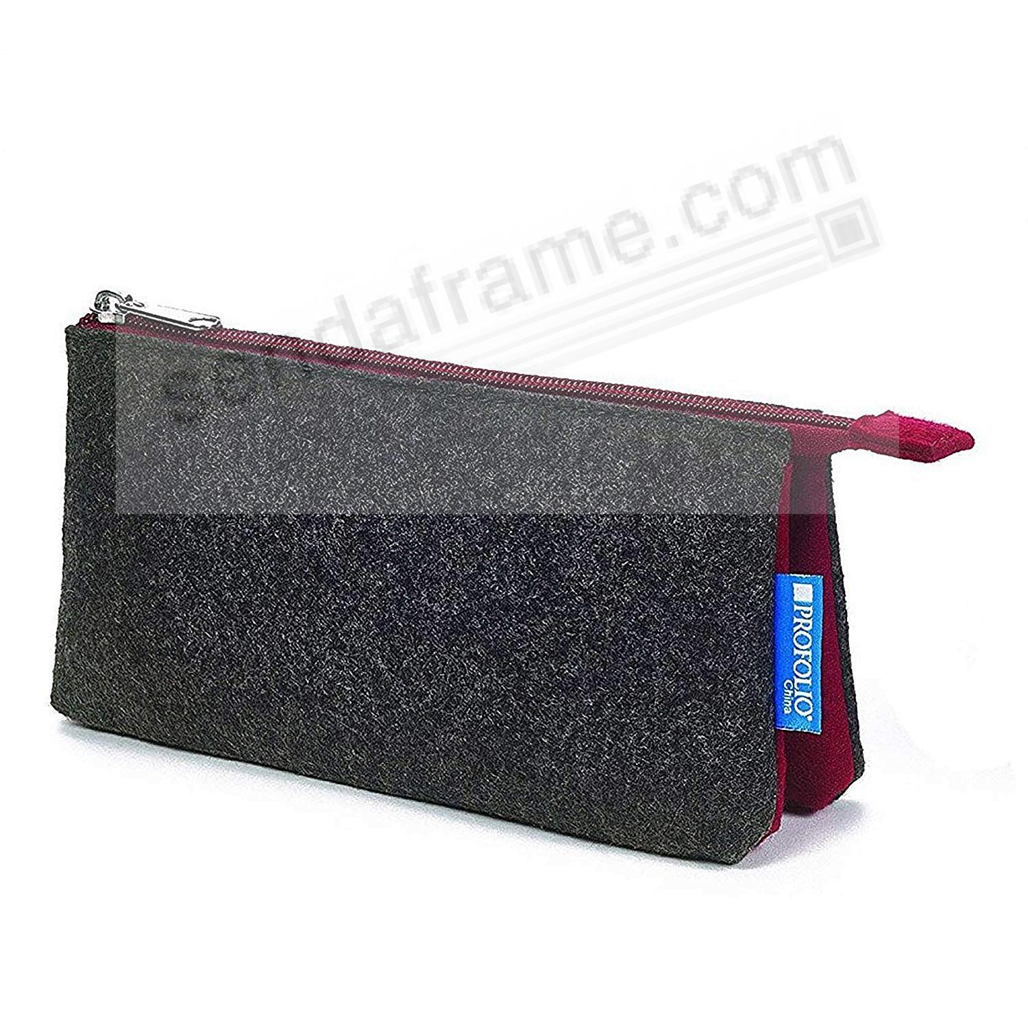 The NEW PROFOLIO MIDTOWN POUCH by Itoya - CHARCOAL/Maroon (5x9-Large)