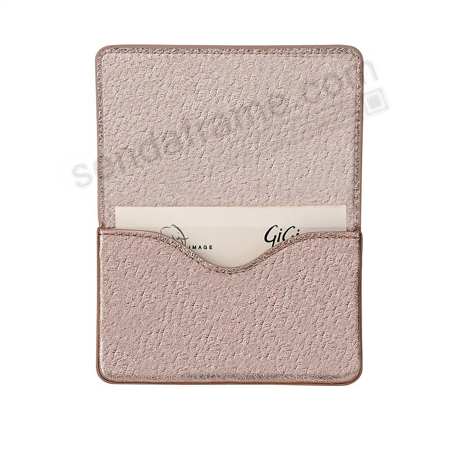 MAGNETIC CARD CASE (HARD) in METALLIC ROSE-GOLD Leather by Graphic Image®