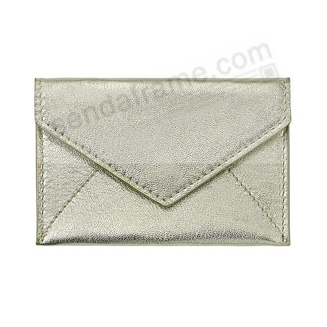 MINI ENVELOPE Metallic WHITE-GOLD Leather by Graphic Image®