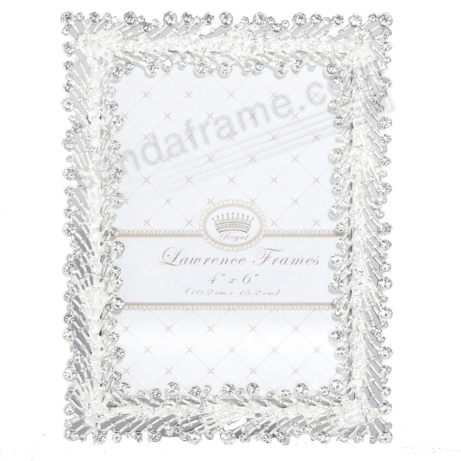 SPRAY WHITE CRYSTAL JEWELS + SILVER 4x6 frame