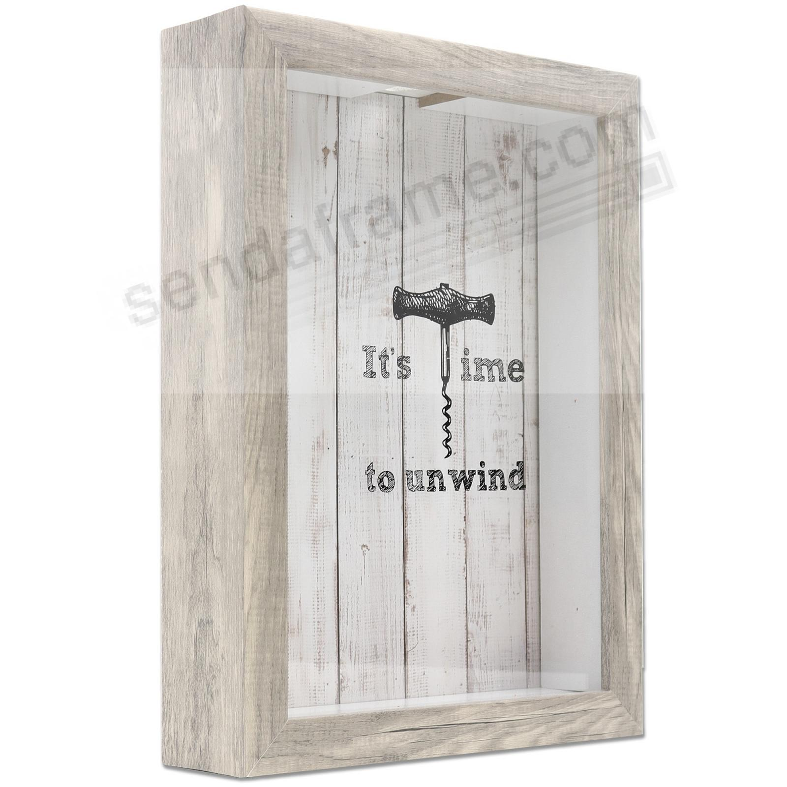 WINE CORK HOLDER Weathered Grey ShadowBox 8x11 frame by Lawrence®