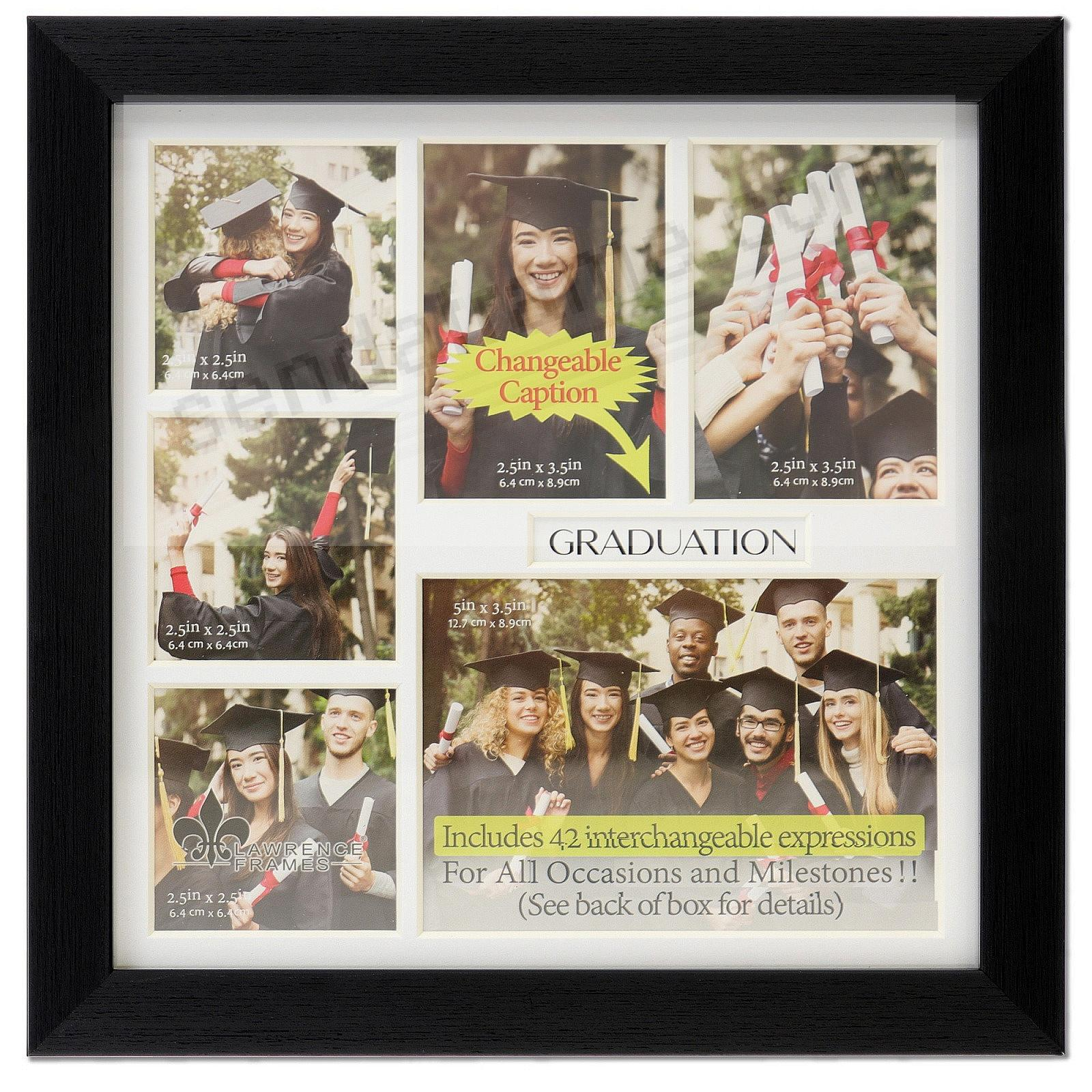 Ebony-Black Special Occasion 6-opening Collage w/42 changeable captions