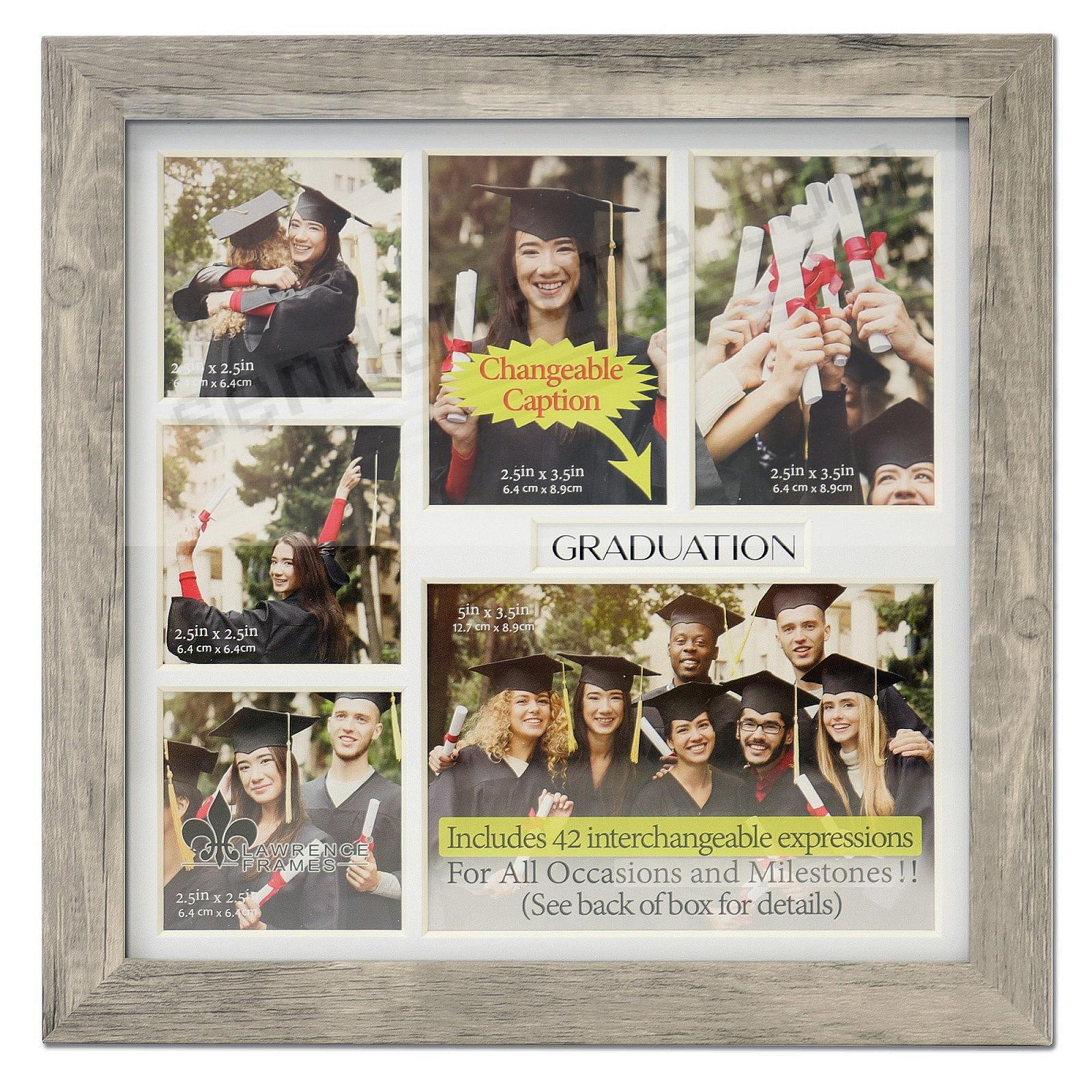 Natural-Grey Special Occasion 6-opening Collage w/42 changeable captions