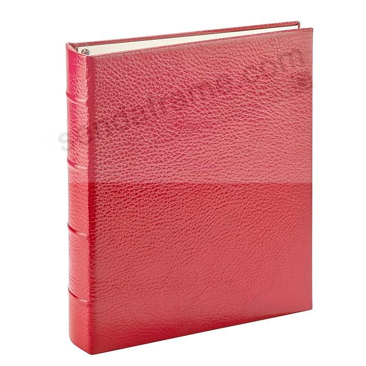 Pebble-Grain Red Leather 2-up Clear Pocket 4-ring Album<br>by Graphic Image™