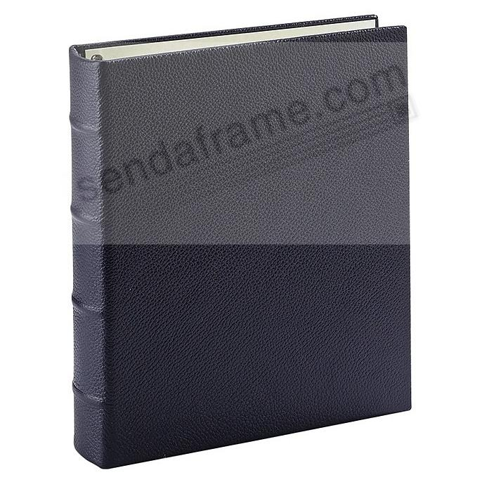 Pebble-Grain Navy Nappa Leather 2-up Clear Pocket 4-ring Album<br>by Graphic Image™