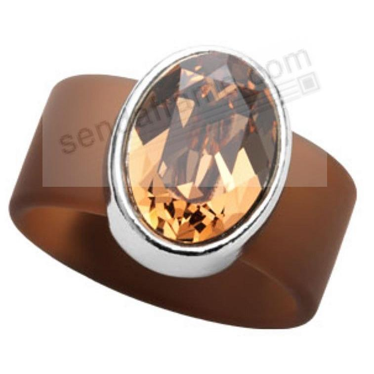 TOPAZ SWAROVSKI® CRYSTAL ON BROWN RUBBER BAND RING - MEDIUM by Olivia Riegel®
