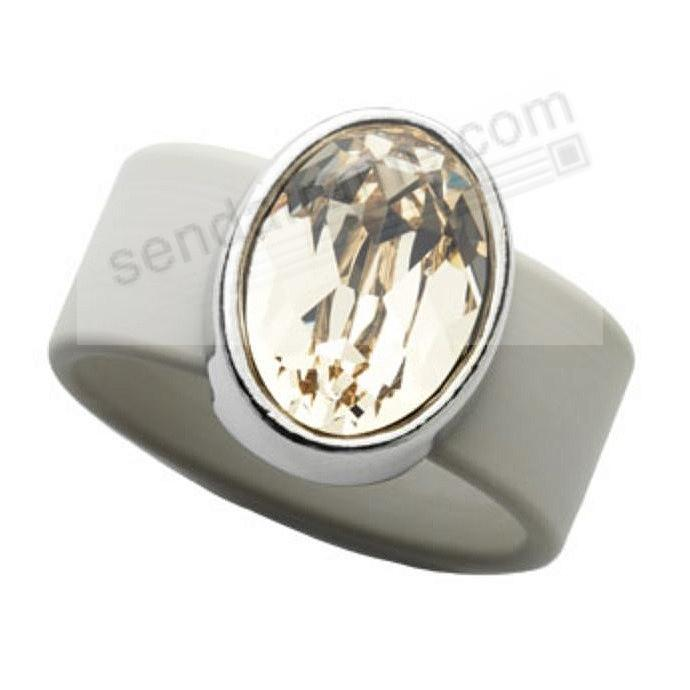 LIGHT SILK SWAROVSKI® CRYSTAL ON BEIGE RUBBER BAND RING - LARGE by Olivia Riegel®