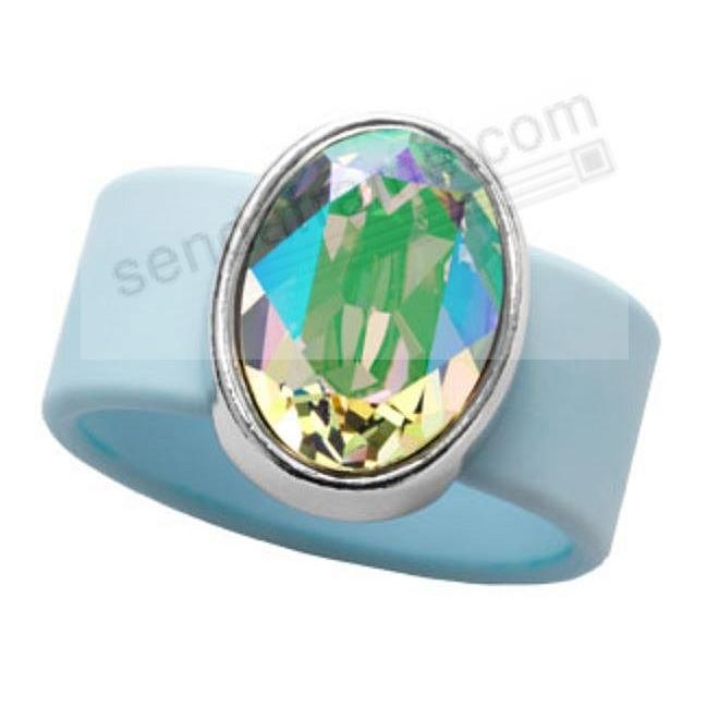 PARADISE SHINE SWAROVSKI® CRYSTAL ON LT BLUE RUBBER BAND RING - LARGE by Olivia Riegel®