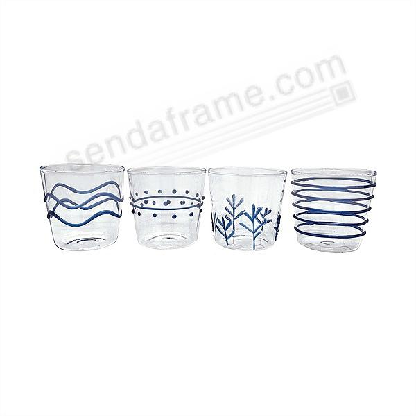 BLUE APPLIQUE DOUBLE OLD FASHION GLASS SUITE by Mariposa® (Set of 4)