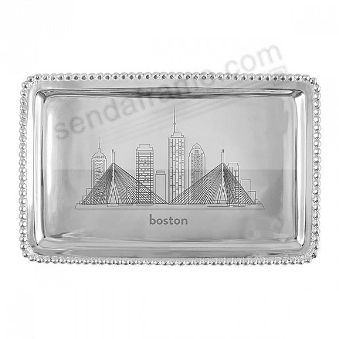 The BOSTON MA CITYSCAPE BEADED BUFFET TRAY crafted by Mariposa®