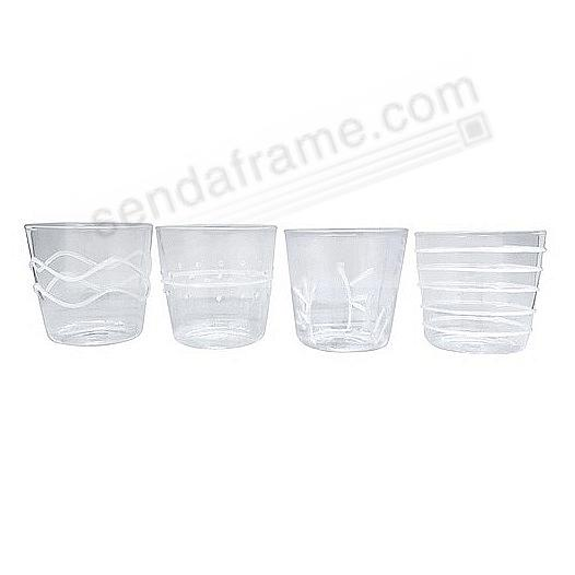 WHITE APPLIQUE DOUBLE-OLD FASHION GLASS SUITE by Mariposa® (Set of 4)