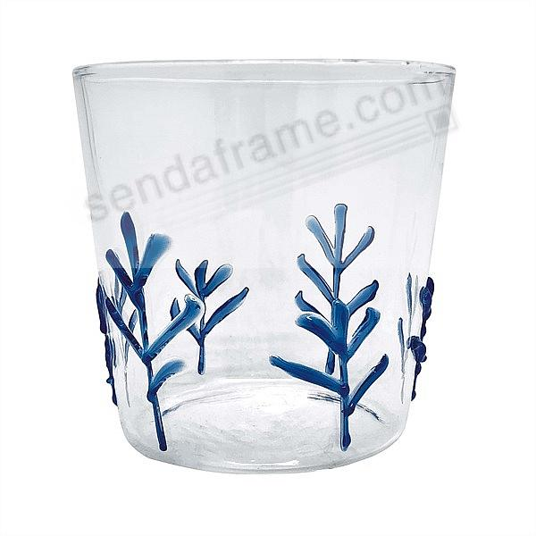 BLUE APPLIQUE BRANCHES DOUBLE-OLDFASHIONED GLASS by Mariposa® (sold in 4's)