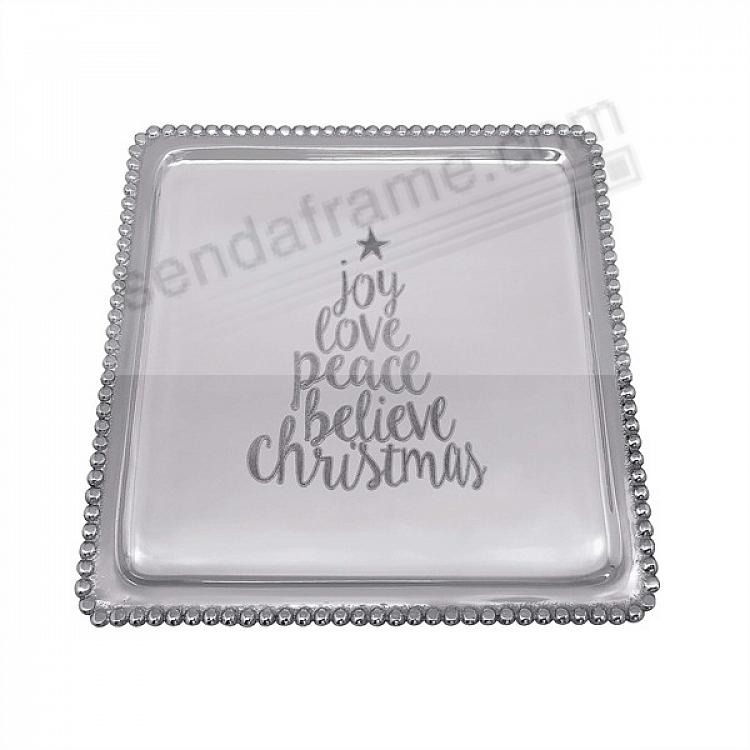 CHRISTMAS TREE BEADED TRAY 8x8 crafted by Mariposa®