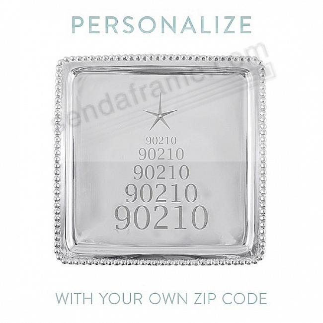 *YOUR ZIP CODE* BEADED TRAY 8x8 crafted by Mariposa®