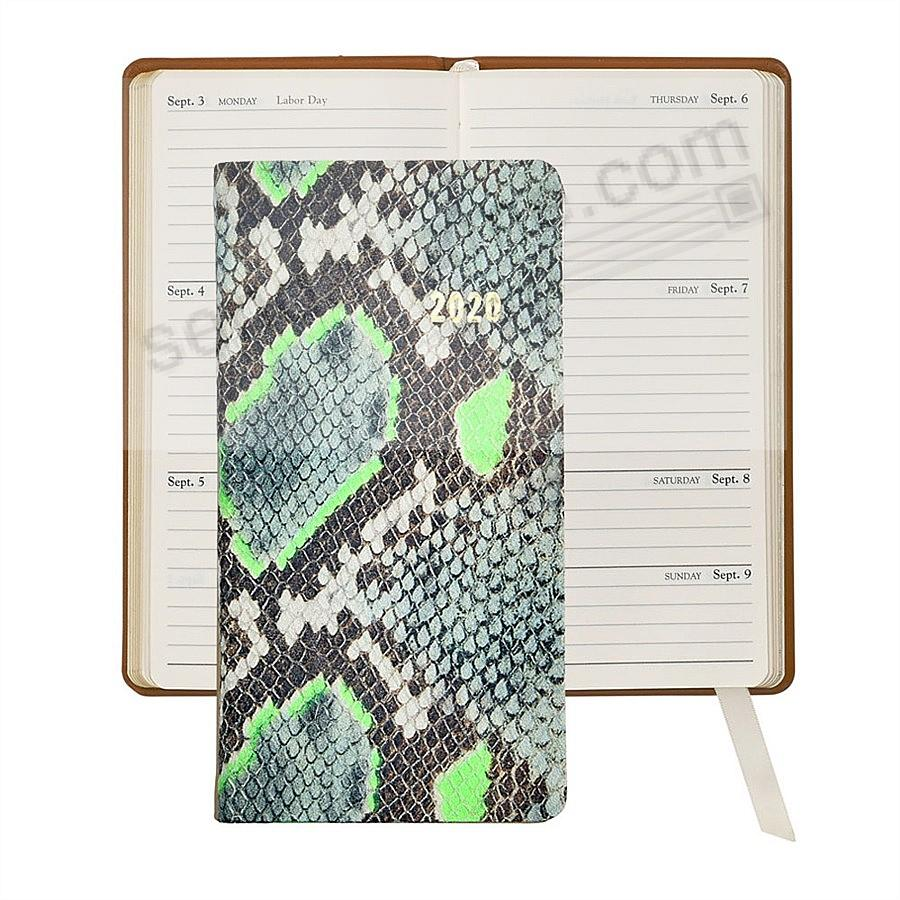 2020 NEON LIME PYTHON 6-in Pocket Datebook Fine EMBOSSED Leather by Graphic Image™