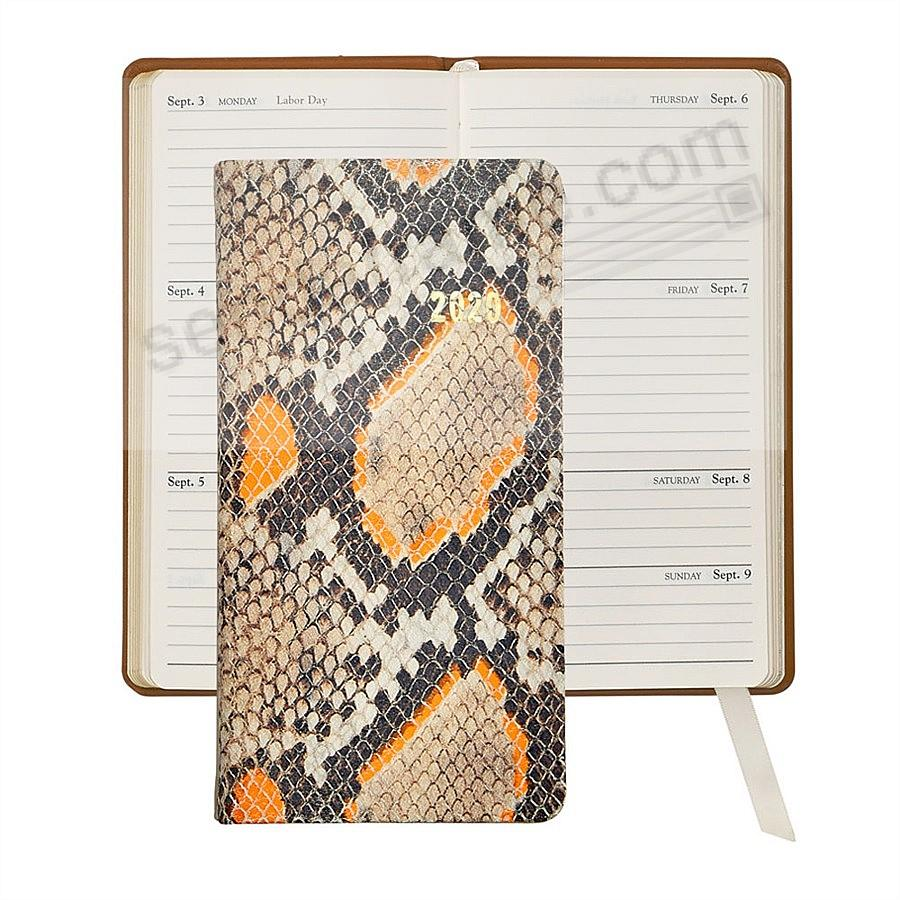 2020 NEON ORANGE PYTHON 6-in Pocket Datebook Fine EMBOSSED Leather by Graphic Image™