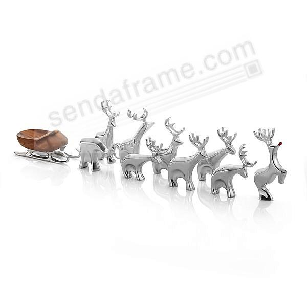Miniature SLEIGH and REINDEER Figurine 10-pc Set crafted by Nambe®