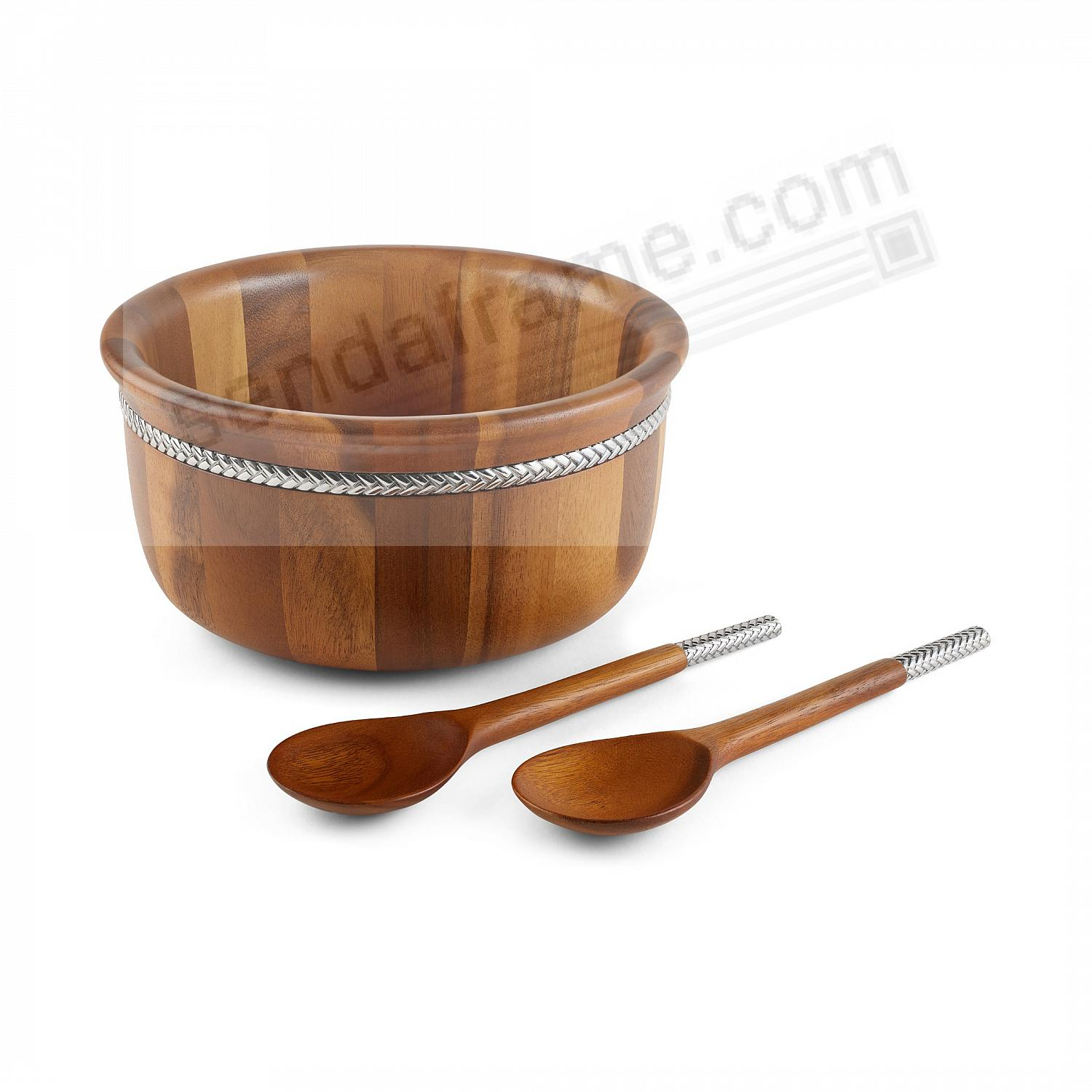 BRAID ROUND SALAD BOWL w/SERVERS crafted by Nambe®