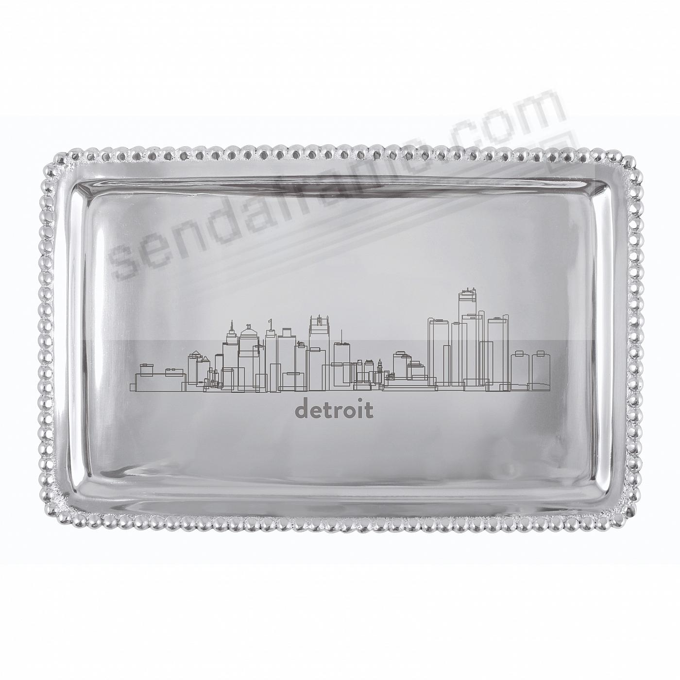 The DETROIT-MICHIGAN CITYSCAPE BEADED BUFFET TRAY crafted by Mariposa®