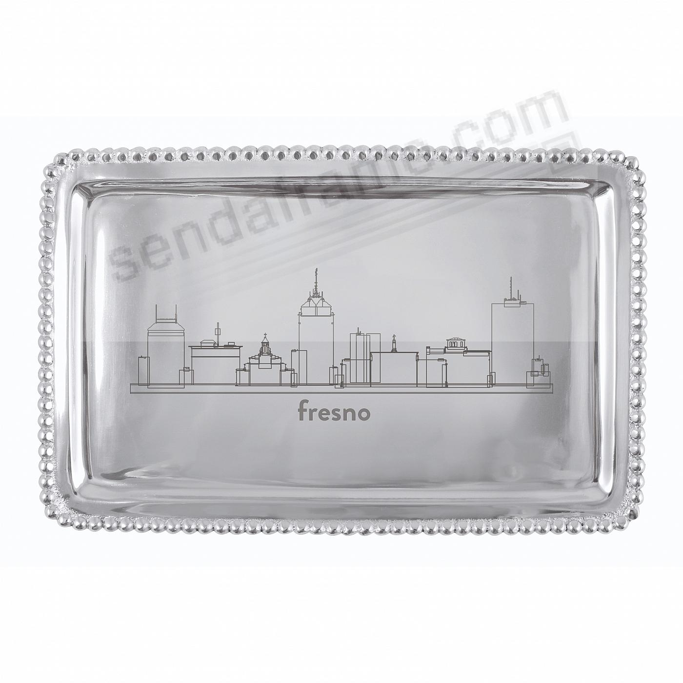 The FRESNO-CALIFORNIA CITYSCAPE BEADED BUFFET TRAY crafted by Mariposa®