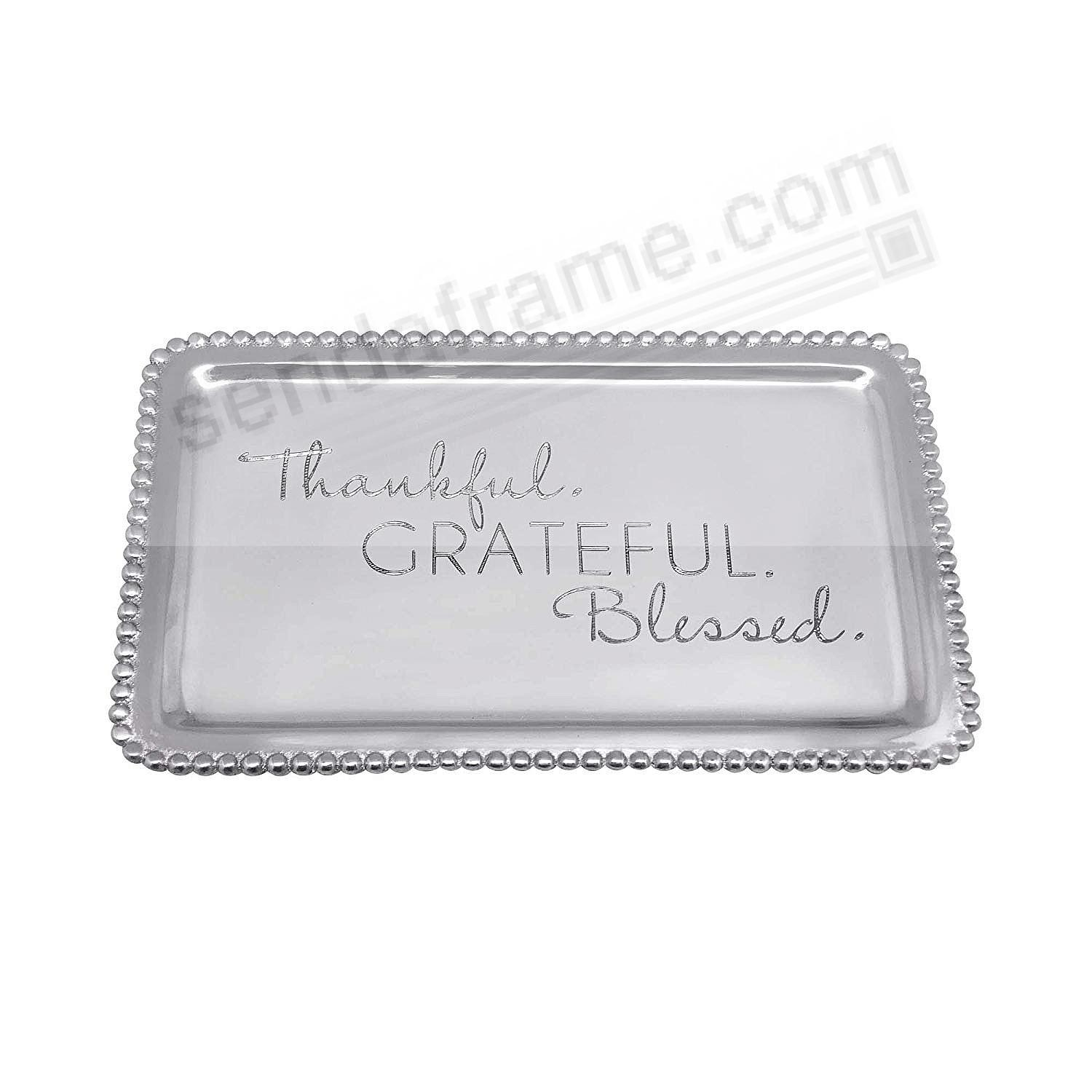 THANKFUL-GRATEFUL-BLESSED BEADED BUFFET TRAY crafted by Mariposa®