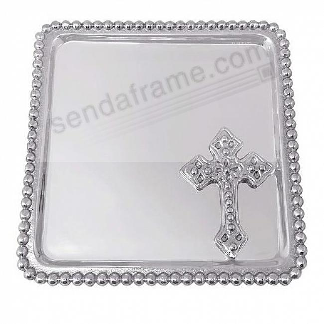 HOLY CROSS BEADED STATEMENT TRAY 6in by Mariposa® - Engraveable!