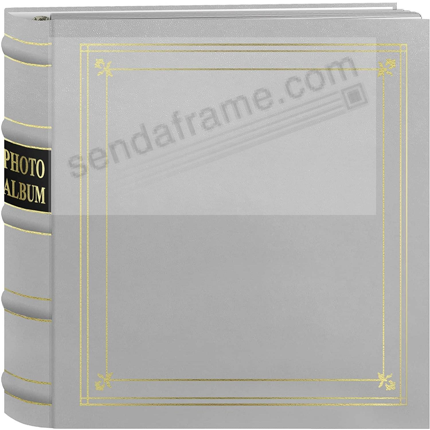 WHITE Leather 3-Ring BI-DIRECTIONAL 200 print capacity / 2up pocket album