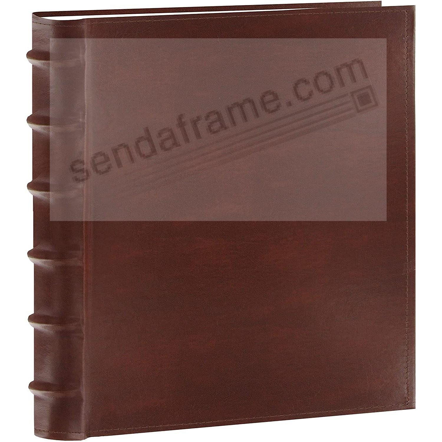 Brown Leather BI-DIRECTIONAL 500-capacity 5-UP pocket pages with memo