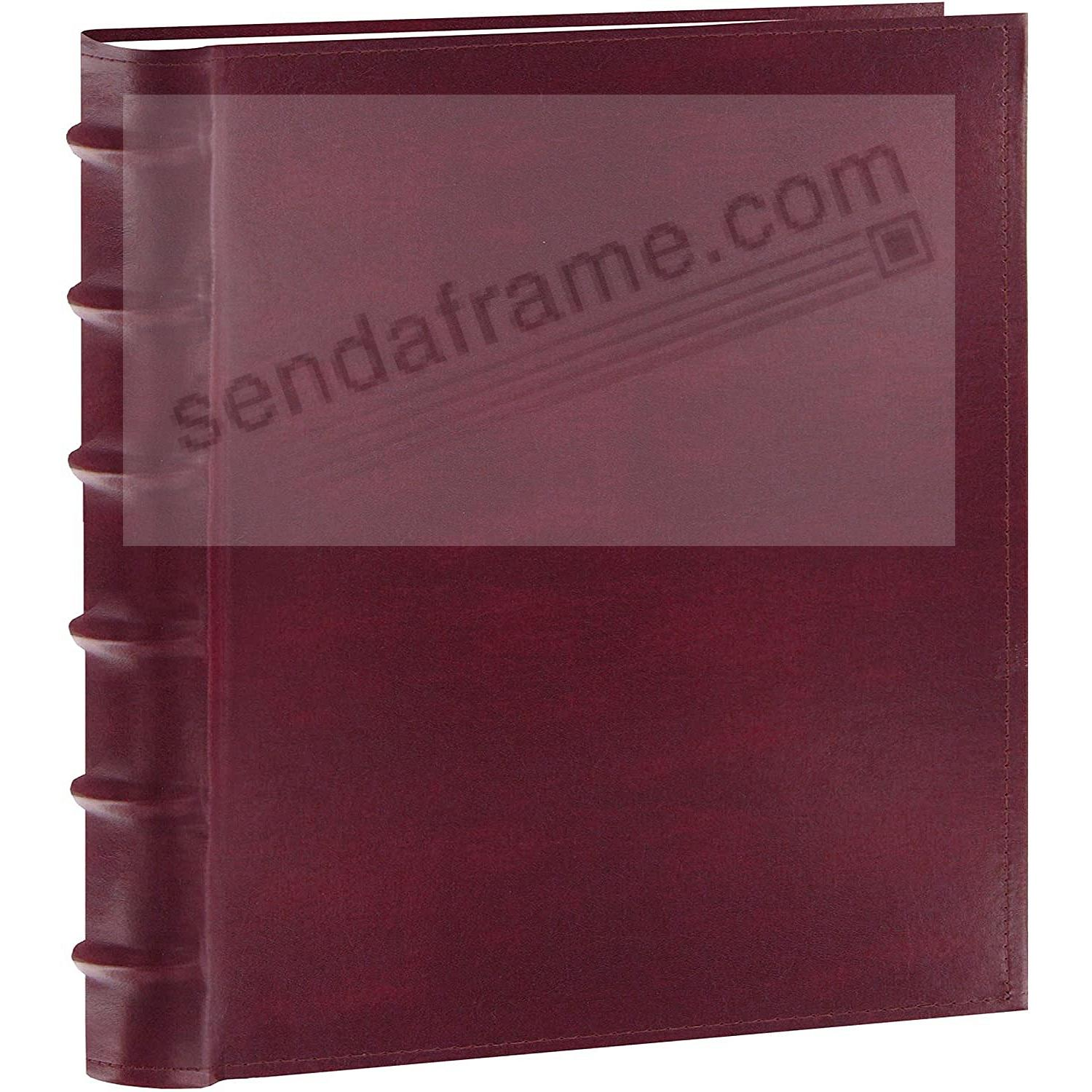 Burgundy Leather BI-DIRECTIONAL 500-capacity 5-UP pocket pages with memo