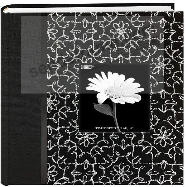 OLIVIA Black & White Fabric Bi-Directional 4x6 2-up frame cover album by Pioneer®