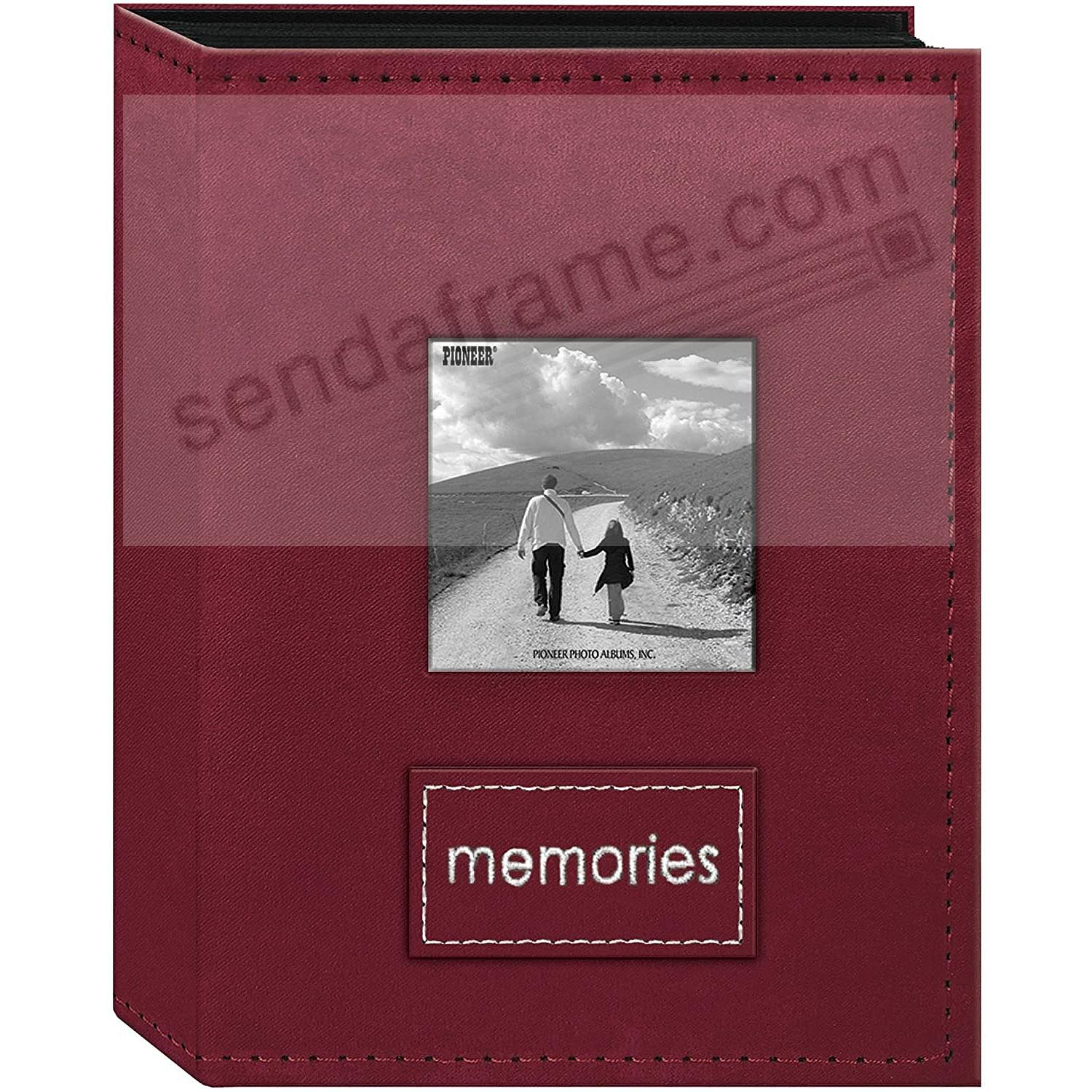 208 Pocket Raspberry Faux-Suede Frame Cover 4x6 Album with Embroidered Patch