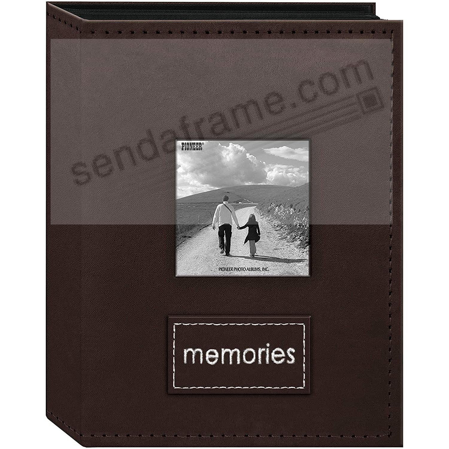 208 Pocket DARK BROWN Faux-Suede Frame Cover 4x6 Album with Embroidered Patch