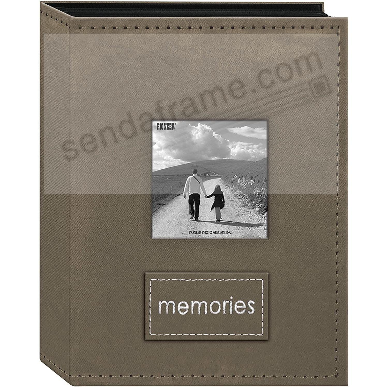208 Pocket TAN Faux-Suede Frame Cover 4x6 Album with Embroidered Patch