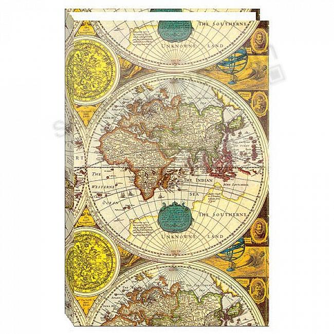 3-ring / 2-up slip-in pocket ANCIENT WORLD MAP binder album for 400+ photos