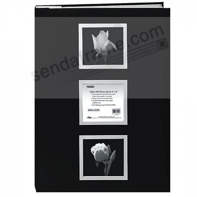 Post-Bound BI-DIRECTIONAL 4x6 pocket album BLACK w/SILVER COVER FRAMES LARGE CAPACITY!
