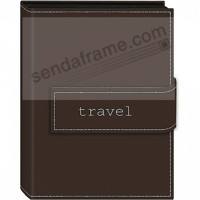TRAVEL BROWN Embroidered Brag Book Album for 208 photos by Pioneer®