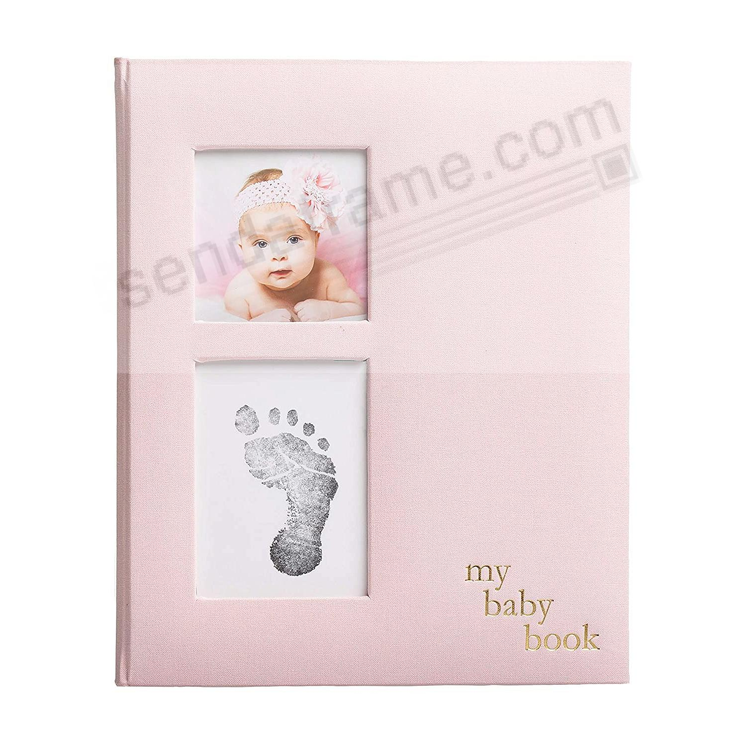 Pink Linen Baby Memory Album w/Clean-Touch Ink Pad by Pearhead®